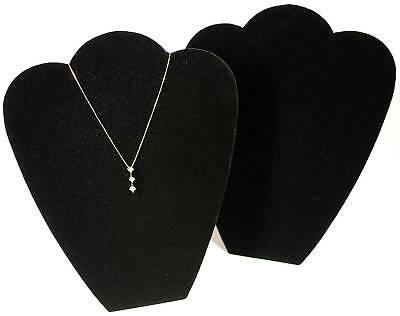 2 Black 11 Velvet Necklace Pendant Jewelry Displays