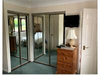 Sliding Mirror Glass Wardrobe Doors - x2 pairs (removed and ready for collection)