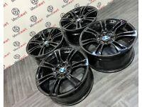 "GENUINE 18"" BMW M SPORT ALLOY WHEELS - 5 x 120 - GLOSS BLACK FINISH"