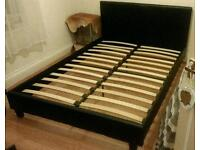 Faux Leather Double Bed Frame Black