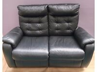 Stunning Black Recliner leather 2 seater sofa(Local delivery available £5-£10)