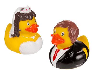 SET OF 2 WEDDING BRIDE AND GROOM SQUEAKING RUBBER BATH DUCK TOYS - Bride And Groom Rubber Ducks