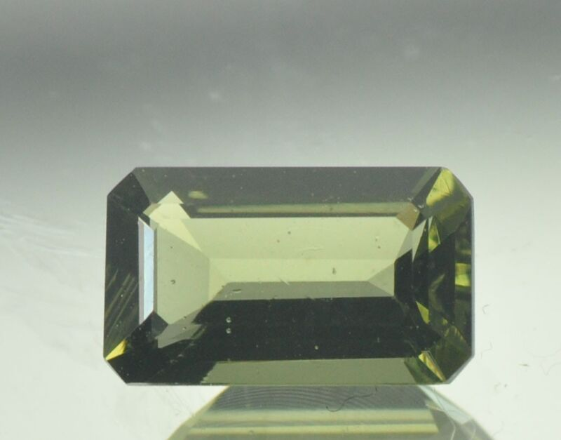1.55cts normal cut MOLDAVITE FACETED CUTTED GEM 10x6mm #BRUS510