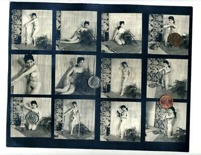 Vintage 1950's B/W Jungle Exotica TIKI STRIPPER 120 Format Contact Proof Sheet