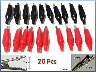 20pcs Battery Clamp Test Probe Electrical Alligator Clip Boot 35mm Black Red