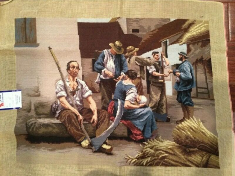 """Gorgeous Large Vintage Completed Needlepoint Canvas Art Tapestry 27"""" x 32"""""""
