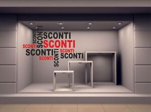 ADESIVO VETRINE SCONTI SALDI NEGOZI 56x81CM 20% 30% 40% 50% 60% 70% 90% - Italia - L'oggetto può essere restituito - Italia