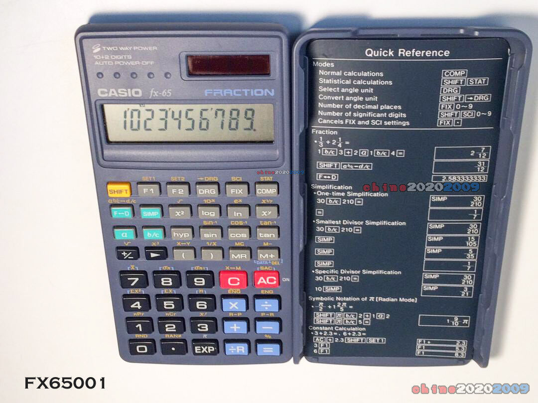 Casio FX-65 Two Way Power Fraction Scientific Calculator with cover  FAST SHIP!!