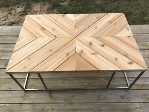 Custom Cedar Table With Metal Base