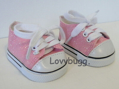 """Lovvbugg  Pink Glitter Sparkly Sneakers for 18"""" American Girl or Bitty Baby Doll Shoes"""