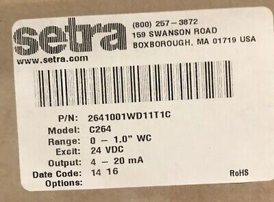 NEW SETRA MODEL 264 DIFFERENTIAL PRESSURE TRANSDUCER 2641001WD11A1C