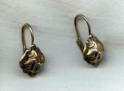EXQUISITE & DELICATE ANTIQUE VICTORIAN 10k GOLD & ENAMEL EARRINGS ~ Swivel Hook