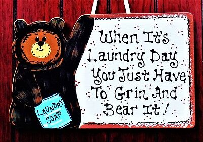 BEAR LAUNDRY ROOM SIGN Rustic Decor Wall Hanger Plaque Country Wood Crafts
