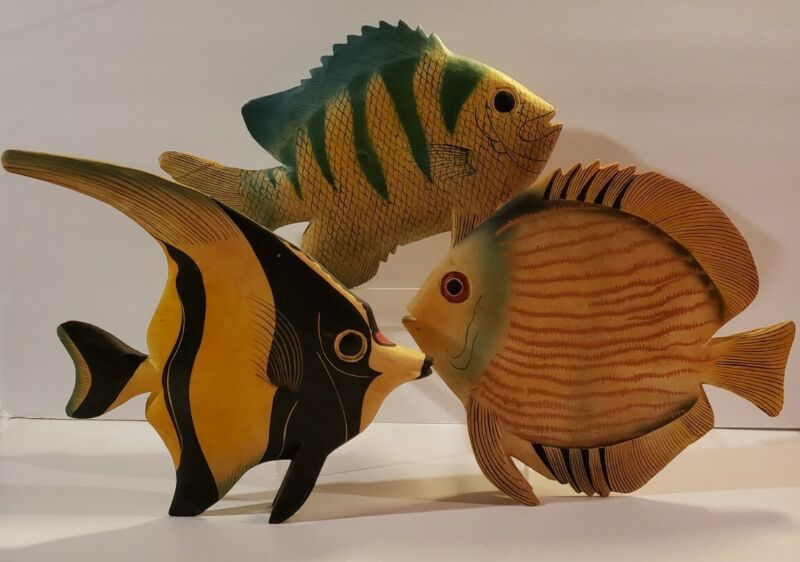 Vintage Carved and Painted Wood Fish Wall Decor