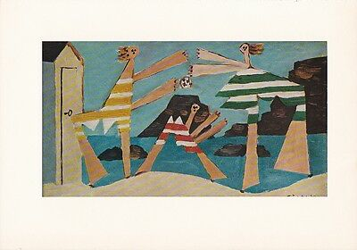 "1955 Vintage ""ON THE BEACH"" PABLO PICASSO Full Color Plate offset Lithograph"