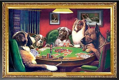 (DOGS PLAYING POKER PICTURE POSTER PRINT FRAMED (WOOD BLACK FINISH) (Size 24x36))