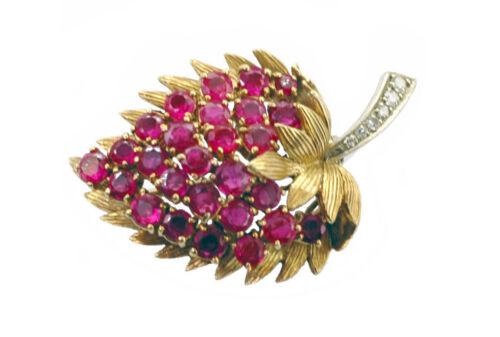 Amazing 18k Gold Diamond Ruby Strawberry Leaf Brooch Antique 1950