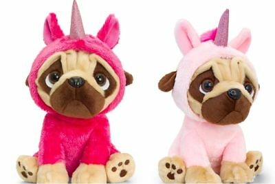 Keel Toys Pugsley 14cm Pug Dog in unicorn costume Cuddly Soft Toy Teddy - Pugsley Costume