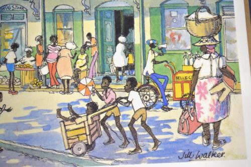 """Vintage MCM Art Jill Walker Barbados """"Speightstown"""" Caribbean West Indies Market"""