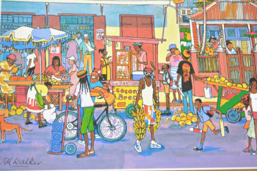 Vintage MCM Jill Walker Art Caribbean Marketplace Nelson Pharmacy Barbados POC