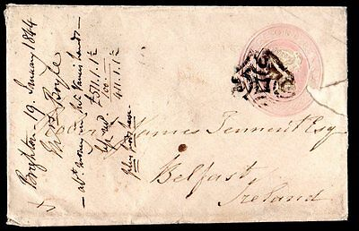UK IRELAND 1844 BRIGHTON TO BELFAST ON ONE PENNY COVER W/MALTESE CROSS CANCEL