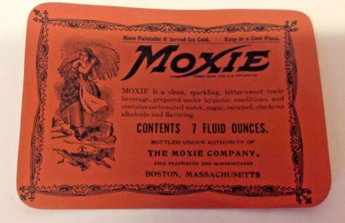 Moxie-Lot of 10 Old 7 oz Labels-NOS,2nd Version-w/ Ingredients