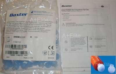 Baxter Baxa Exactamed Oral Medicine Dose Syringe Original Tip Caps 100pk 50300
