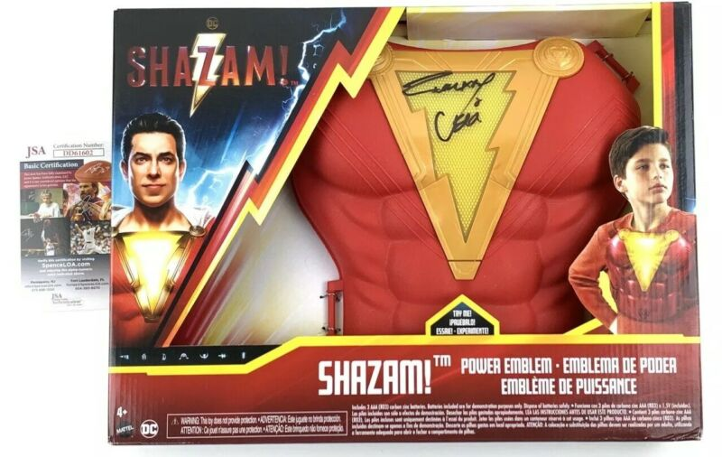 ZACHARY LEVI signed Power Emblem Chest SHAZAM! Shazam DC Mattel Superhero JSA