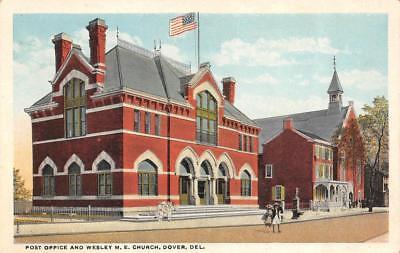 DOVER, DE Delaware   POST OFFICE & WESLEY M.E. CHURCH   c1920's Postcard