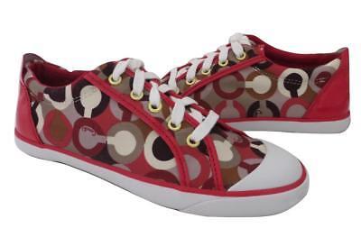 (New Coach Barrett Signature Raspberry Pink Signature & Patent Leather Sneakers)