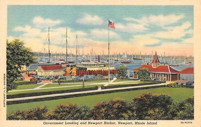 NEWPORT, RI Rhode Island  GOVERNMENT LANDING & HARBOR Sailboats c1940's Postcard