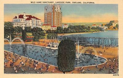 OAKLAND, CA California  WILD GAME SANCTUARY~Lakeside Park c1940's Linen Postcard for sale  Shipping to Canada