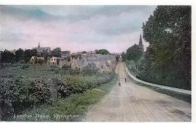 London Road Uppingham unused old postcard RA Series
