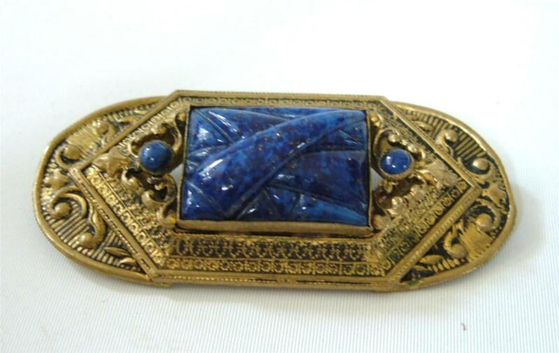 Antique Art Deco Nouveau Lapis Glass Molded Gilt Brass Czech Brooch Pin Blue