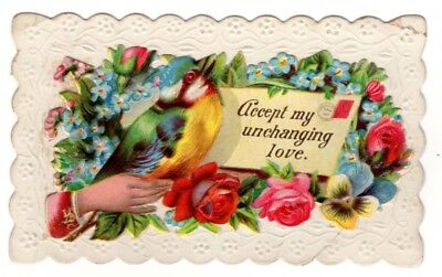 Vintage Beautiful Victorian Hidden name card Accept my Unchanging Love Bird