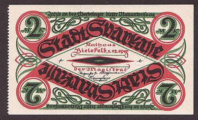 Bielefeld, 2 Mark 1.11.1918 Rand gezähnt, Großnotgeld