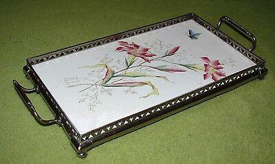 Jugendstil Keramik Tablett mit Nickelmontierung Blumen u. Schmetterlinge