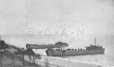 WWII Org 1940s Photo Finish PC- Camp Bradford Little Creek VA- LST- Landing Ship