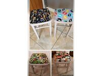 Vintage Kitchen Stools Upcycled in Cool Fabrics