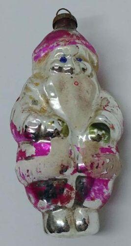 Early Antique Mercury Glass Santa Ornament - Fuchsia Coat - German