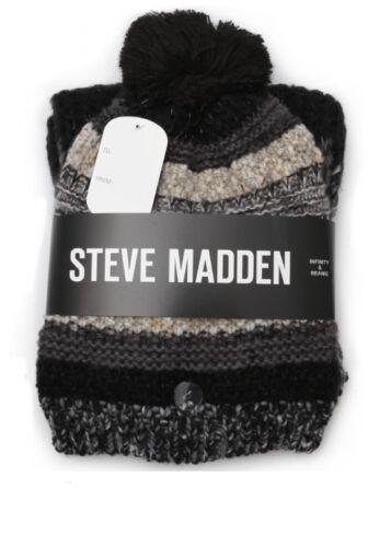 Steve Madden Scarf & Hat Gift Set Winter Pom Pom Beanie Hat