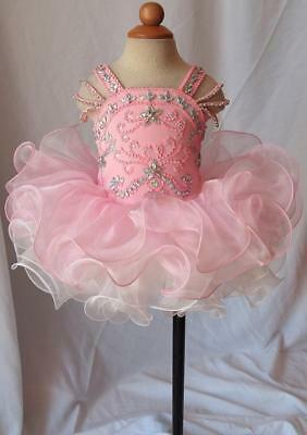 Beaded Bodece Short Kids Cupcake Glitz Pageant Dress Birthday Organza Dance Gown](Cupcake Communion Dress)