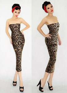 Leopard print tube pencil wiggle dress pin up 40s 50s vintage Size 8-10