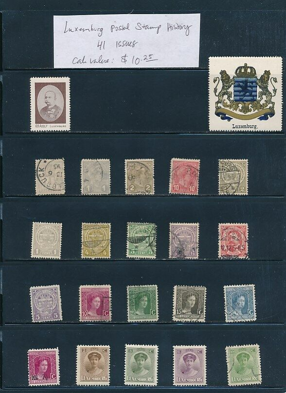 OWN PART OF LUXEMBOURG POSTAL STAMP HISTORY. 41 ISSUES CAT VALUE 10.25 - $1.82