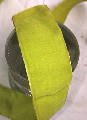 (1 yard vintage Chartreuse Green velvet 1 1/2