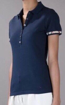 NWT Burberry Brit Button Navy Nova Check Shirt Top Blouse Blue Small