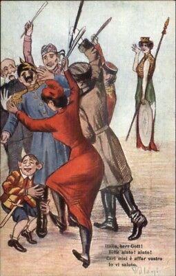 WWI Anti-German Propaganda Crowd Beating Kaiser Italian Artist VILLANI pc