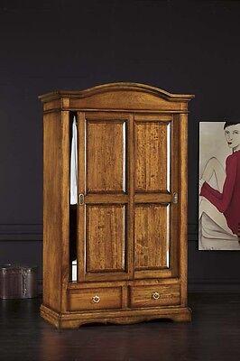 Armadio 2 ante scorrevoli in arte povera legno massello classico,camera da letto
