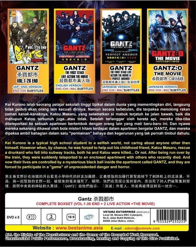 DVD Anime GANTZ Complete Series (1-26 + 2 Live Action + Movie) English Version*