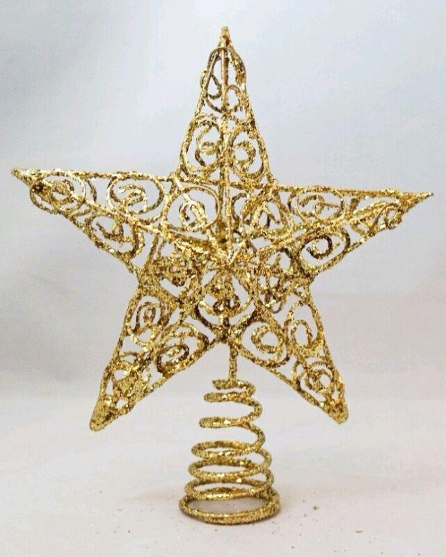 "Star Tree Topper Small Gold Filigree Wire Christmas Metal 6"" Kurt Adler"